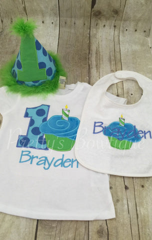 Boys 1st Birthday cupcake party hat shirt or onepiece , and bib. Can customize - Pretty's Bowtique