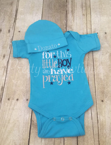 FOR this Little BOY I or WE have Prayed one piece with matching beanie - Pretty's Bowtique