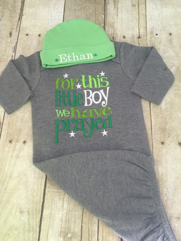 For this little boy we have prayed coming home outfit -- Newborn boy coming home outfit -- For this Little boy I have Prayed gown and cap - Pretty's Bowtique
