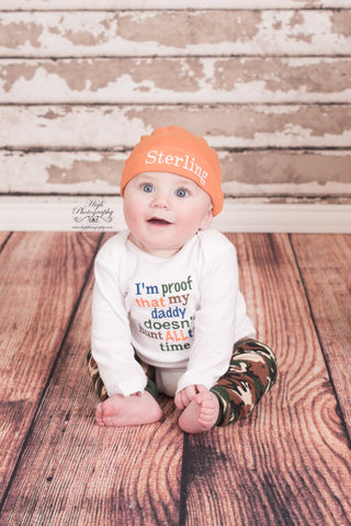 I'm proof that my DADDY doesn't hunt all the time bodysuit, leg warmers and hat.  Can customize colors - Pretty's Bowtique