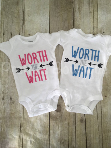 Worth the Wait Bodysuit or shirt can be customized Hospital or Coming home outfit Twins - Pretty's Bowtique