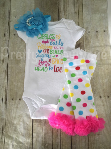 Giggles and curls Ribbons and bows sugar and spice from head to toe  Bodysuit or shirt, legwarmers, and  headband Set can be customized - Pretty's Bowtique