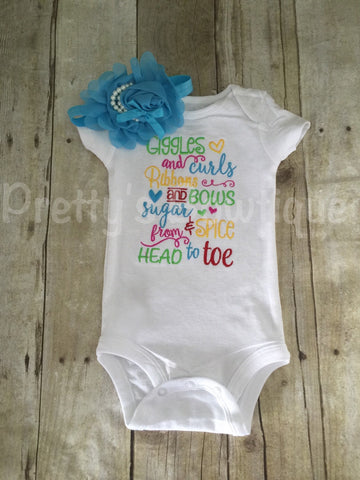 Giggles and curls Ribbons and bows sugar and spice from head to toe  Bodysuit or shirt and headband Set can be customized - Pretty's Bowtique
