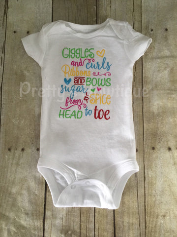 Giggles and curls Ribbons and bows sugar and spice from head to toe  Bodysuit or shirt can be customized - Pretty's Bowtique