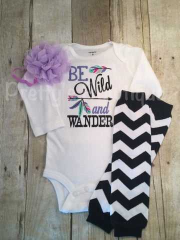 Be Wild and Wander Bodysuit or shirt, legwarmers, and  headband Set can be customized - Pretty's Bowtique