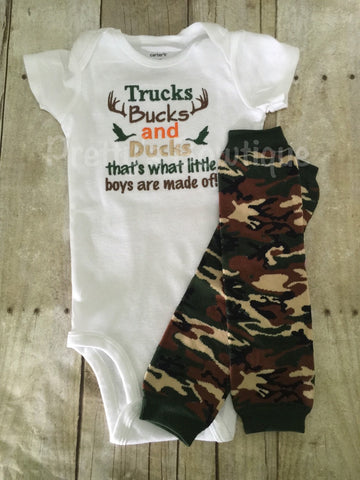 Trucks Bucks and Ducks that's what little boys are made of body suit and camo leg warmers camo-deer-hunting-little hunter