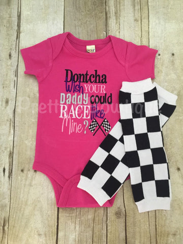 Dontcha wish your daddy could race like mine? bodysuit and legwarmers.  Can customize colors - Pretty's Bowtique