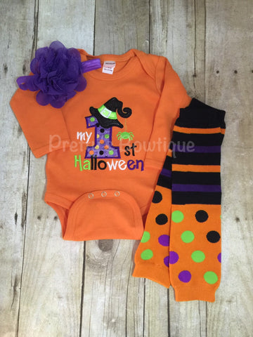 My 1st Halloween Witch outfit bodysuit or t shirt, headband, and legwarmers Adorable orange - Pretty's Bowtique