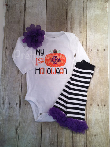My 1st Halloween outfit bodysuit or shirt, headband and legwarmers. Monogram personalized PUMPKIN - Pretty's Bowtique