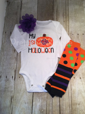 First Halloween Baby Girl 3-Piece Outfit for Newborn to Youth 14 with Shirt or Bodysuit, Leg Warmers and Headband - Pretty's Bowtique