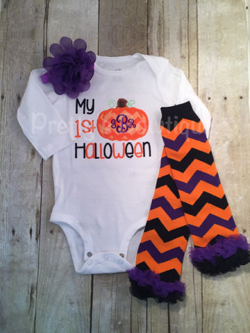 Baby 1st Halloween bodysuit or shirt - My 1st Halloween outfit bodysuit or shirt, headband and legwarmers. Monogram personalized PUMPKIN - Pretty's Bowtique