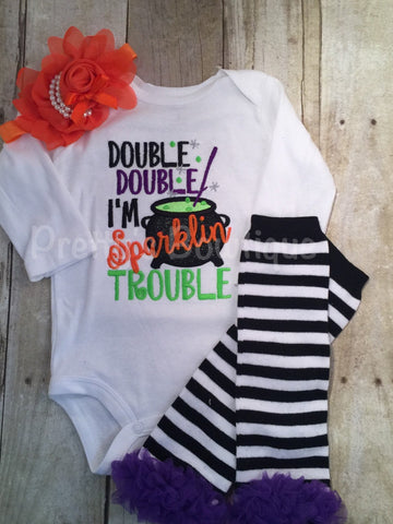 Double Double I'm sparklin trouble outfit bodysuit or shirt, headband and legwarmers. Halloween outfit - Pretty's Bowtique