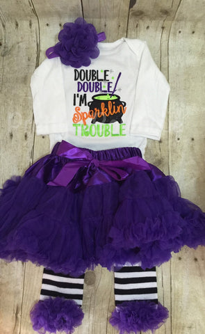 Girls Halloween outfit- Double Double I'm sparklin trouble outfit bodysuit or shirt, headband, petti skirt and legwarmers. Halloween outfit - Pretty's Bowtique