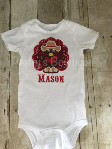 Boys Thanksgiving turkey cowboy western bodysuit or shirt. One piece or Shirt for babies, toddler, and children. - Pretty's Bowtique