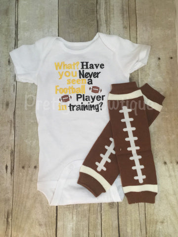 Boys Football outfit --What have you never seen a football player in training Football shirt outfit with legwarmers any colors - Pretty's Bowtique