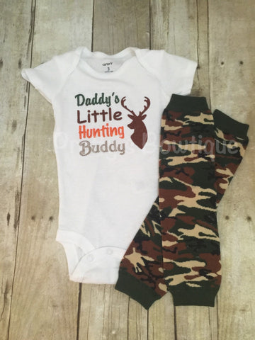 Daddy's Little hunting buddy shirt or body suit and camo leg warmers *camo-deer-hunting-little hunter - Pretty's Bowtique