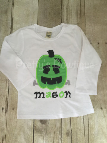 Frankenstein Pumpkin boys shirt or bodysuit personalized boys bodysuit or shirt Halloween - Pretty's Bowtique