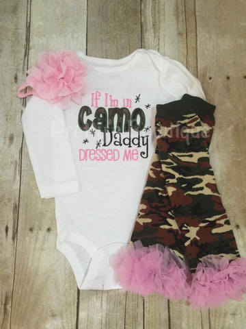 If I'm in Camo Daddy dressed me bodysuit, leg warmers and headband.  Pink Camo Can customize colors - Pretty's Bowtique
