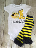 Bumblebee Birthday outfit legwarmers and  Shirt or bodysuit Any age - Pretty's Bowtique