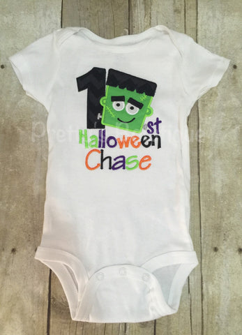 Boys 1st Halloween Frankenstein personalized boys bodysuit or shirt - Pretty's Bowtique