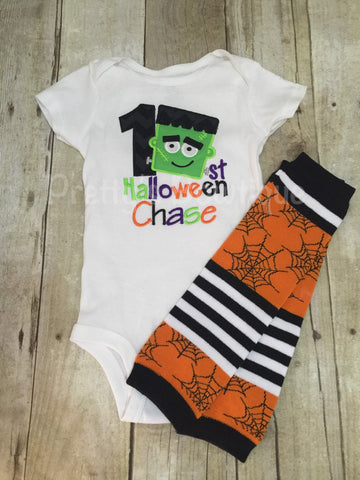 1st Halloween Frankenstein personalized boys outfit bodysuit or shirt and legwarmers. Halloween outfit - Pretty's Bowtique