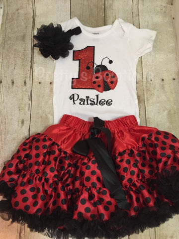 Lady bug birthday set body suit or shirt, Petti Skirt Tutu, and headband.  This little outfit is adorable can be doen for any age ladybug. - Pretty's Bowtique