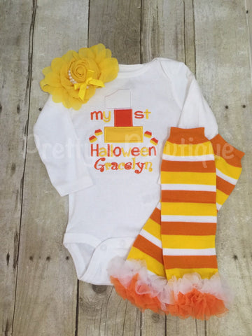 My 1st Halloween outfit bodysuit or shirt, headband and legwarmers. Candy corn my 1st - Pretty's Bowtique