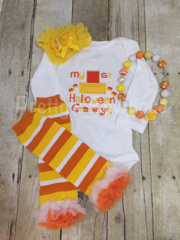 My 1st Halloween outfit bodysuit or shirt, headband, necklace and legwarmers. Candy corn my 1st - Pretty's Bowtique