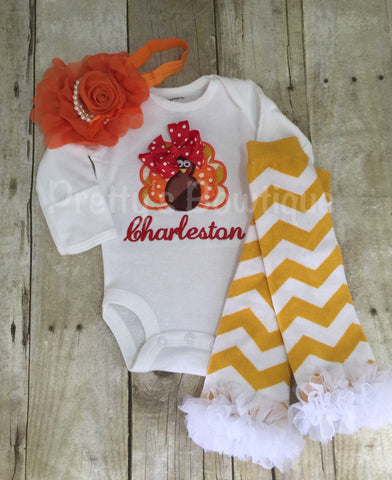 Thanksgiving Outfit Baby Girl – Turkey Embroidered Bodysuit, Headband & Legwarmers Set Personalized with Name - Pretty's Bowtique