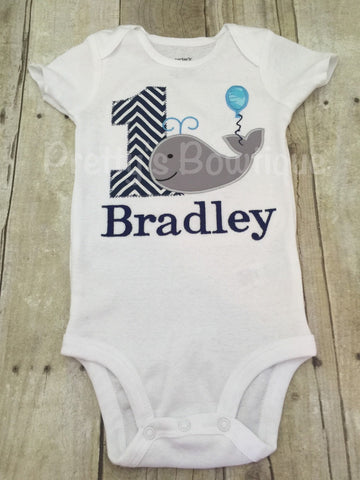 Boys Whale 1st Birthday Shirt or Bodysuit  - Custom Birthday outfit Whale - Pretty's Bowtique