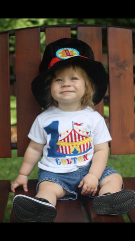 Boy Circus Under the BIG tent shirt.  Perfect for a trip to the circus or a Circus party bodysuit - Pretty's Bowtique