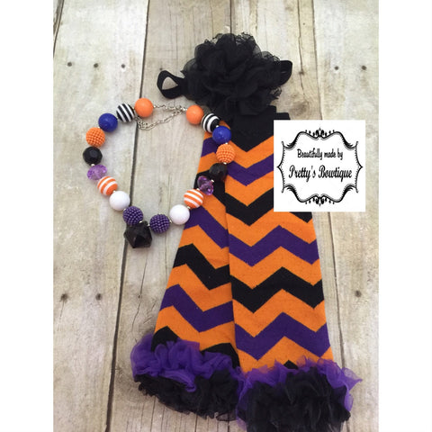 Halloween Baby Clothes Accessories Set with Leg Warmers, Baby Headband & Chunky Bauble Necklace - Pretty's Bowtique