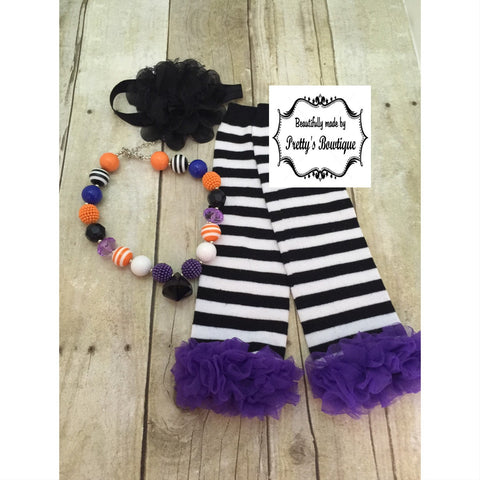 Baby Halloween Leg Warmers, Headband and Chunky Bauble Necklace Set - Pretty's Bowtique