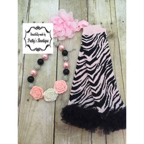 Chunky Bead Necklace - Baby legwarmers - Flower Headband you select pieces Pink Zebra set - Pretty's Bowtique