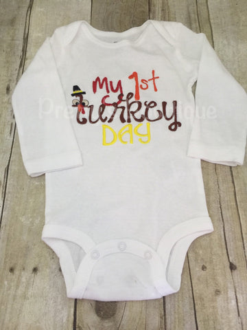 My First Turkey Day Baby Bodysuit or Shirt Sizes Newborn to Youth XL - Pretty's Bowtique