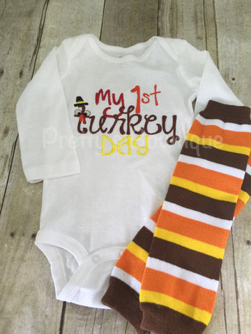 Boys or girls Thanksgiving shirt or bodysuit and legwarmers - My 1st Turkey Day - Pretty's Bowtique