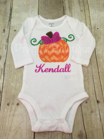 Girls Pumpkin Bodysuit or Shirt Personalized with sequin fabric bow - Girls Fall t shirt or bodysuit - Pretty's Bowtique