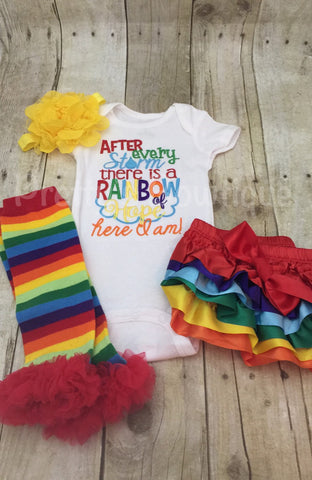 After every storm there is a rainbow of hope... Here i am! Bodysuit or shirt and matching ruffle leg-warmers, diaper cover and headband - Pretty's Bowtique