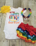 After every storm there is a rainbow of hope... Here i am! Bodysuit or shirt, necklace, diaper cover and headband - Pretty's Bowtique