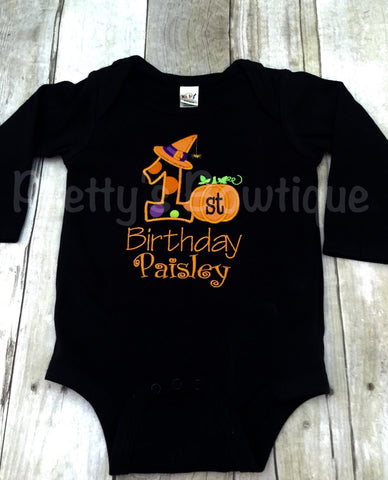 1st Birthday Halloween Shirt or Bodysuit for Girl - Pretty's Bowtique