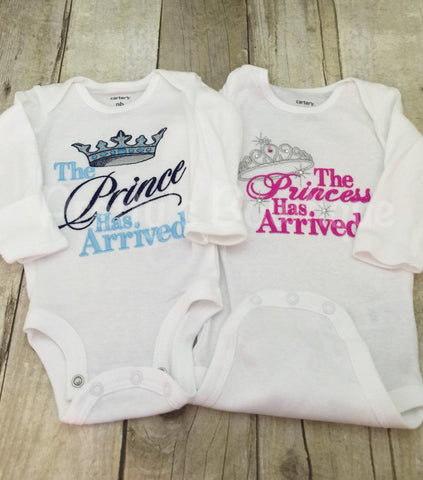 Twins outfits - The Princess & The Prince has arrived shirt or bodysuit.  Perfect for hospital or coming home outfit