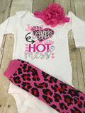 Jesus loves this little hot mess Bodysuit or t shirt, legwarmers and flower headband - Pretty's Bowtique
