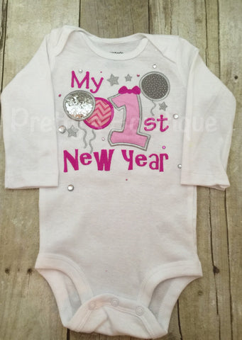 Girls 1st New Year's Shirt or bodysuit any size ADD name for NO CHARGE 2016 - Pretty's Bowtique