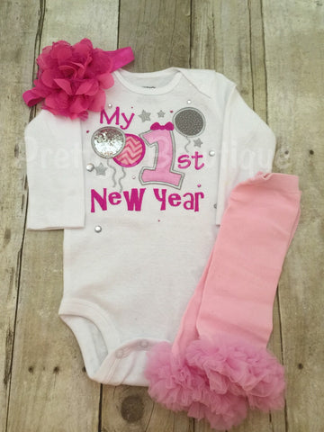 Baby girl 1st New Year's Shirt or bodysuit, legwarmers and headband.  ADD name for NO CHARGE 2016 - Pretty's Bowtique