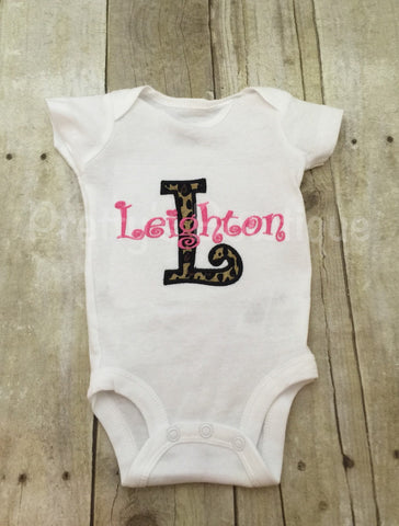 Leopard Initial Personalized Bodysuit or Shirt.  Can be customized to other color combos.  Newborn and up - Pretty's Bowtique