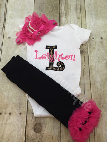 Leopard Initial Personalized Bodysuit or Shirt, legwarmers and headband.  Can be customized to other color combos.  Newborn and up - Pretty's Bowtique