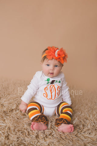 Girls monogram Pumpkin Shirt or bodysuit - Personalized Pumpkin Fall Shirt, headband and legwarmers - Pretty's Bowtique