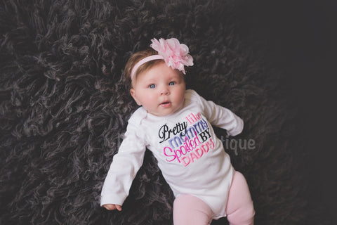 Girls bodysuit or shirt- Pretty like mommy spoiled by daddy shirt or bodysuit, headband and legwarmers - Pretty's Bowtique