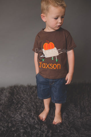 Boys Fall Pumpkin Shirt or Baby Bodysuit Personalized with Name –- Sizes 3M to Youth XL - Pretty's Bowtique