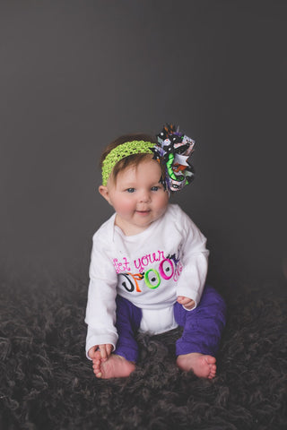 Girls Halloween Outfit - Get your spook on outfit bodysuit or shirt, over the top bow and legwarmers. - Pretty's Bowtique